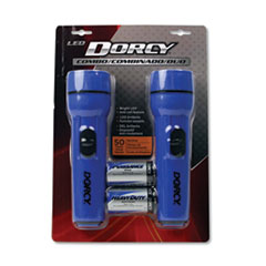 DORCY® LED Flashlight Pack, 1 D Battery (Included), Blue, 2/Pack