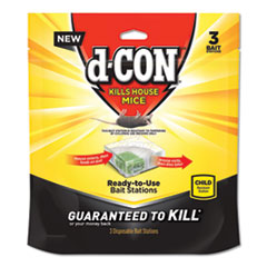d-CON® Disposable Bait Station, 3w x 3d x 1 1/4h, 6/Carton