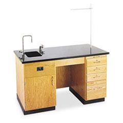 Diversified Woodcrafts Instructor's Desk, 60w x 30d x 36h, Oak/Black