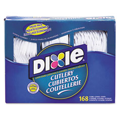 Dixie® Combo Pack, Tray with White Plastic Utensils, 56 Forks, 56 Knives, 56 Spoons