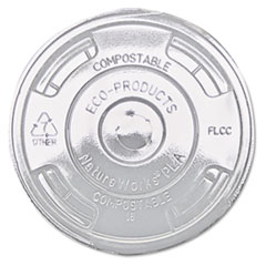 Eco-Products® GreenStripe Renewable and Compost Cold Cup Flat Lids, for 9-24 oz, 100/Pack, 10 Packs/Carton