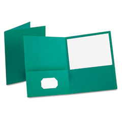 Twin-Pocket Folder, Embossed Leather Grain Paper, Teal, 25/Box