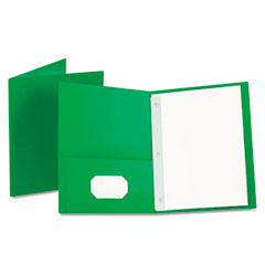"Oxford™ Twin-Pocket Folders with 3 Fasteners, Letter, 1/2"" Capacity, Green, 25/Box"