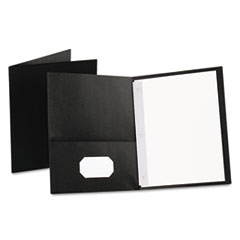 "Oxford™ Twin-Pocket Folders with 3 Fasteners, Letter, 1/2"" Capacity, Black 25/Box"