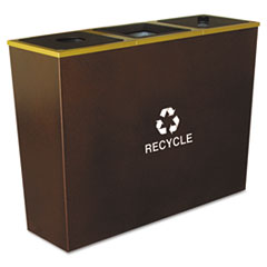 Ex-Cell Metro Collection Recycling Receptacle, Triple Stream, Steel, 54 gal, Brown