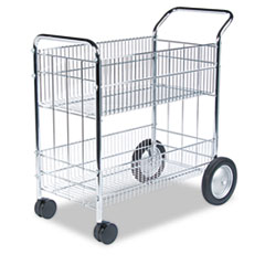 Fellowes® Wire Mail Cart, 21.5w x 37.5d x 39.25h, Chrome
