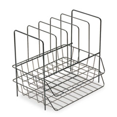 """Fellowes® Wire Double Tray with Vertical Sorter, 7 Sections, Letter Size Files, 13.75"""" x 10.13"""" x 12.5"""", Black"""