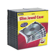 Slim Jewel Case, Clear/Black, 100/Pack