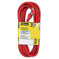 Fellowes® Indoor/Outdoor Heavy-Duty 3-Prong Plug Extension Cord, 1-Outlet, 25ft, Orange