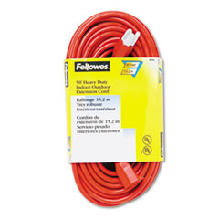 Fellowes® Indoor/Outdoor Heavy-Duty 3-Prong Plug Extension Cord, 1-Outlet, 50ft, Orange