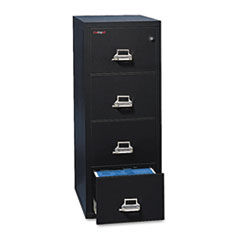 Four-Drawer Vertical File, 17 3/4w x 25d, UL Listed 350 for Fire, Letter, Black