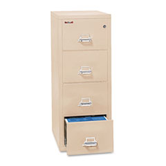 Four-Drawer Vertical File, 17 3/4 x 31 9/16, UL 350 for Fire, Letter, Parchment