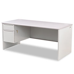 HON® 38000 Series Left Pedestal Desk, 66w x 30d x 29-1/2h, Light Gray
