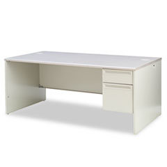 HON® 38000 Series Right Pedestal Desk, 72w x 36d x 29-1/2h, Light Gray