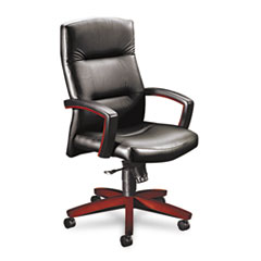 Image of 5000 Series Executive High-Back Swivel/Tilt Chair, Black Leather/Mahogany Chairs HON5001NSS11 HON