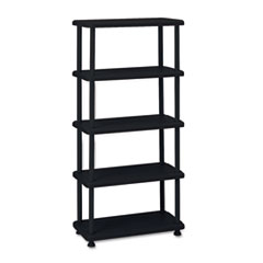 Iceberg Rough N Ready Five-Shelf Open Storage System, Resin, 36w x 18d x 74h, Black