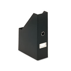 "Heavy-Duty Fiberboard Magazine File with PVC Laminate, 4"" x 9 1/4"" x 14"", Black"