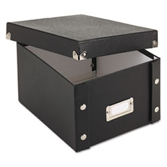 Snap-N-Store® Collapsible Index Card File Box, Holds 1,100 5 x 8 Cards, 8.38 x 9 x 5.25, Fiberboard, Black