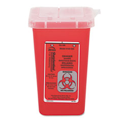 Impact® Sharps Waste Receptacle, Square, Plastic, 32oz, Red