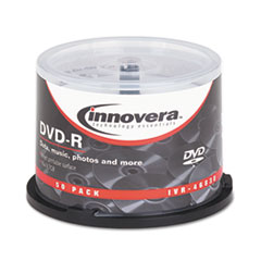 Innovera® DVD-R Discs, Hub Printable, 4.7GB, 16x, Spindle, Matte White, 50/Pack
