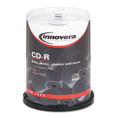 Innovera® CD-R Discs, Hub Printable, 700MB/80min, 52x, Spindle, Matte White, 100/Pack