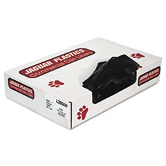 "Jaguar Plastics® Industrial Strength Low-Density Commercial Can Liners, 60 gal, 0.7 mil, 38"" x 58"", Black, 100/Carton"