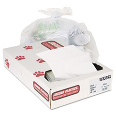 "Jaguar Plastics® Industrial Strength Low-Density Commercial Can Liners, 33 gal, 0.9 mil, 33"" x 39"", White, 100/Carton"