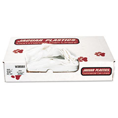 "Jaguar Plastics® Industrial Strength Low-Density Commercial Can Liners, 60 gal, 0.9 mil, 38"" x 58"", White, 100/Carton"