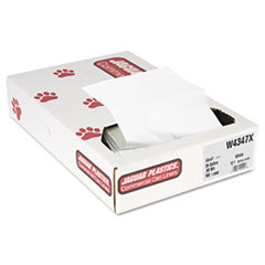 "Jaguar Plastics® Industrial Strength Low-Density Commercial Can Liners, 56 gal, 0.9 mil, 43"" x 47"", White, 100/Carton"