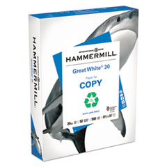 Great White 30 Recycled Paper, 92 Bright, 20lb, Ltr, 500/RM, 10 RM/CT