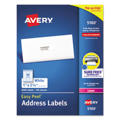 Avery® Easy Peel White Address Labels w/ Sure Feed Technology, Laser Printers, 1 x 2.63, White, 30/Sheet, 100 Sheets/Box