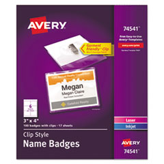 Clip-Style Name Badge Holder with Laser/Inkjet Insert, Top Load, 4 x 3, White, 100/Box