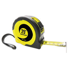 EASY GRIP TAPE MEASURE, 25 FT, PLASTIC CASE, BLACK AND