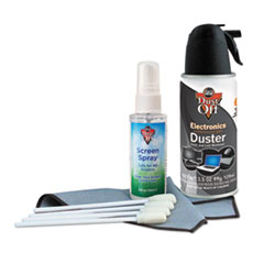 "Dust-Off® Premium Keyboard Cleaning Kit, 50 mL Bottle, 5 1/4"" x 7 1/2"" Cloth, 4 Swabs"