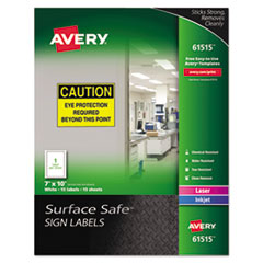 Surface Safe Sign Labels, 7 x 10, White, 15/Pk