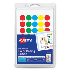 "Avery® Handwrite-Only Self-Adhesive ""See Through"" Removable Round Color Dots Thumbnail"
