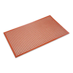 Crown Safewalk-Light Heavy-Duty Anti-Fatigue Mat, Rubber, 36 x 60, Terra Cotta