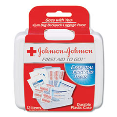 Johnson & Johnson® Red Cross® Mini First Aid To Go Kit, 12-Pieces, Plastic Case