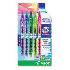 B2P Bottle-2-Pen Recycled Retractable Gel Pen, 0.7mm, Assorted Ink & Brl, 5/PK