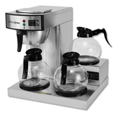 Coffee Pro Three-Burner Low Profile Institutional Coffee Maker, Stainless Steel, 36 Cups