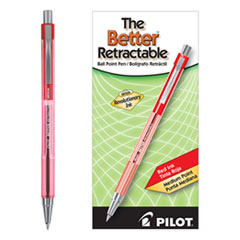 Pilot® Better Ballpoint Pen, Retractable, Medium 1 mm, Red Ink, Translucent Red Barrel, Dozen