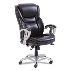 Emerson Executive Task Chair, Supports up to 300 lbs., Brown Seat/Brown Back, Silver Base