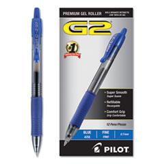 G2 Premium Retractable Gel Pen, 0.7 mm, Blue Ink, Smoke Barrel, Dozen