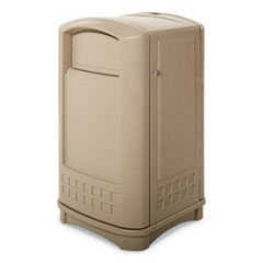 Rubbermaid® Commercial Plaza Indoor/Outdoor Waste Container, Rectangular, Plastic, 50 gal, Beige