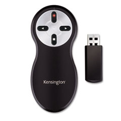 Kensington® Wireless Presenter with Red Laser, 65 ft. Range, Black/Silver