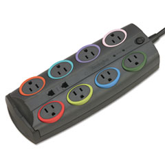 Kensington® 8-Outlet Adapter Model Surge Protector, Black, 8ft Cord, 3090 Joules
