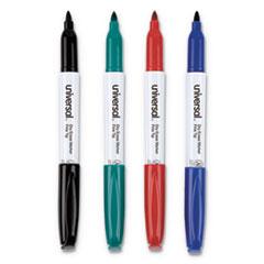 Pen Style Dry Erase Marker, Fine Bullet Tip, Assorted Colors, 4/Set