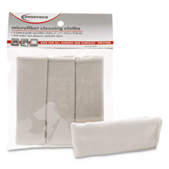 "Innovera® Microfiber Cleaning Cloths, 6"" x 7"", Gray, 3/Pack"
