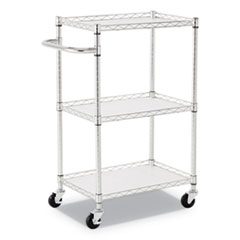 "3-Shelf Wire Cart with Liners, 28 1/2"" x 16"" x 39"", Silver, 500 lbs Capacity"
