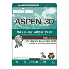 Boise® ASPEN 30 Multi-Use Recycled Paper, 92 Bright, 3-Hole, 20lb, 8.5 x 11, White, 500 Sheets/Ream, 10 Reams/Carton